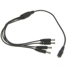 1-Female to 4-Male 2.1mm x 5.5mm 22AWG DC Power Y Adapter Cable