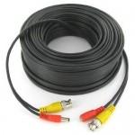 100' Black CCTV Camera Siamese Coax Cable with Power Wire
