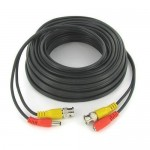 50' Black CCTV Camera Siamese Coax Cable with Power Wire