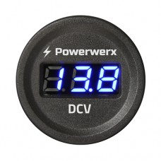 Powerwerx Panel Mount Digital Blue Volt Meter for 12/24VDC Systems