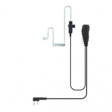 Valley 2-Wire Coil Earbud Audio Mic Surveillance Kit for Kenwood Two-Pin Two-Way Radios Braided Cloth Cable